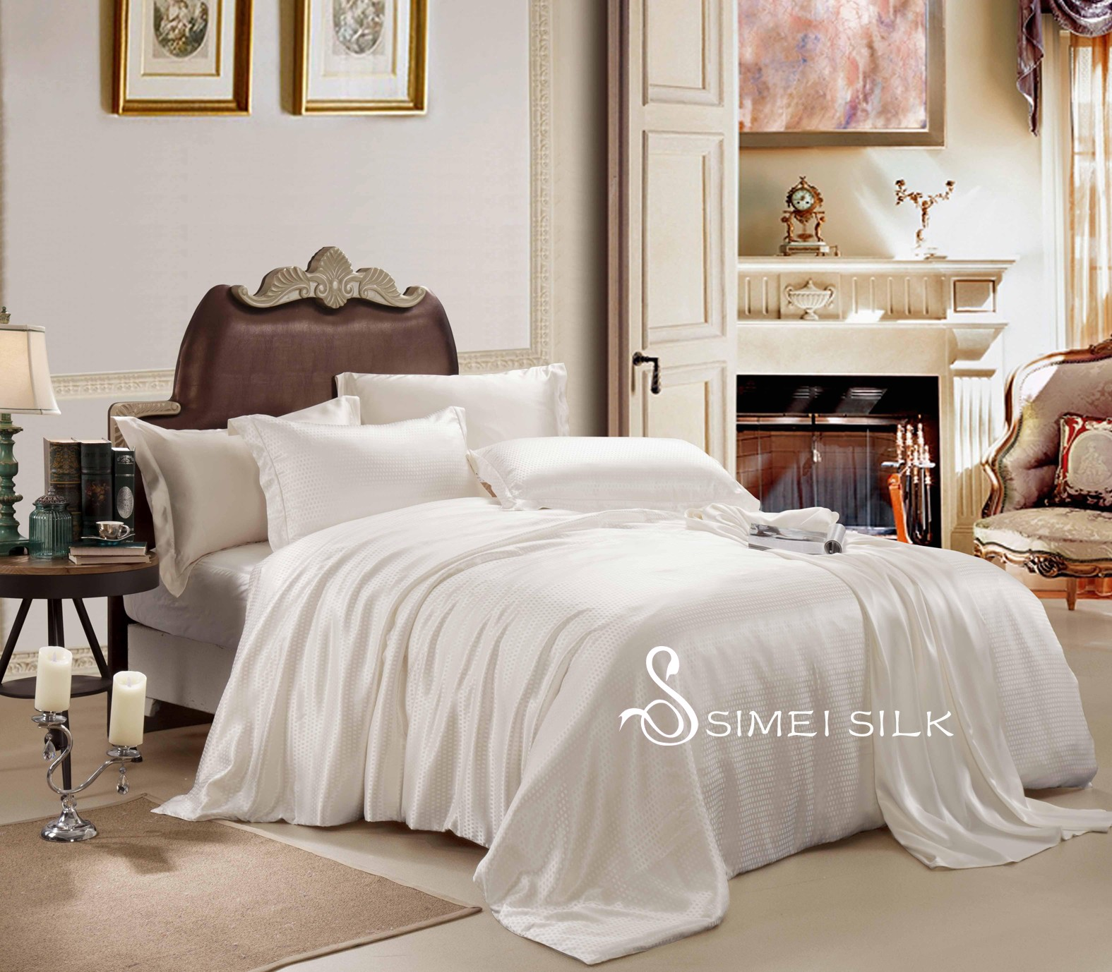 Silkkilakanasarja (Queen Size, 4-osainen. Väri: valkoinen-ruutu)