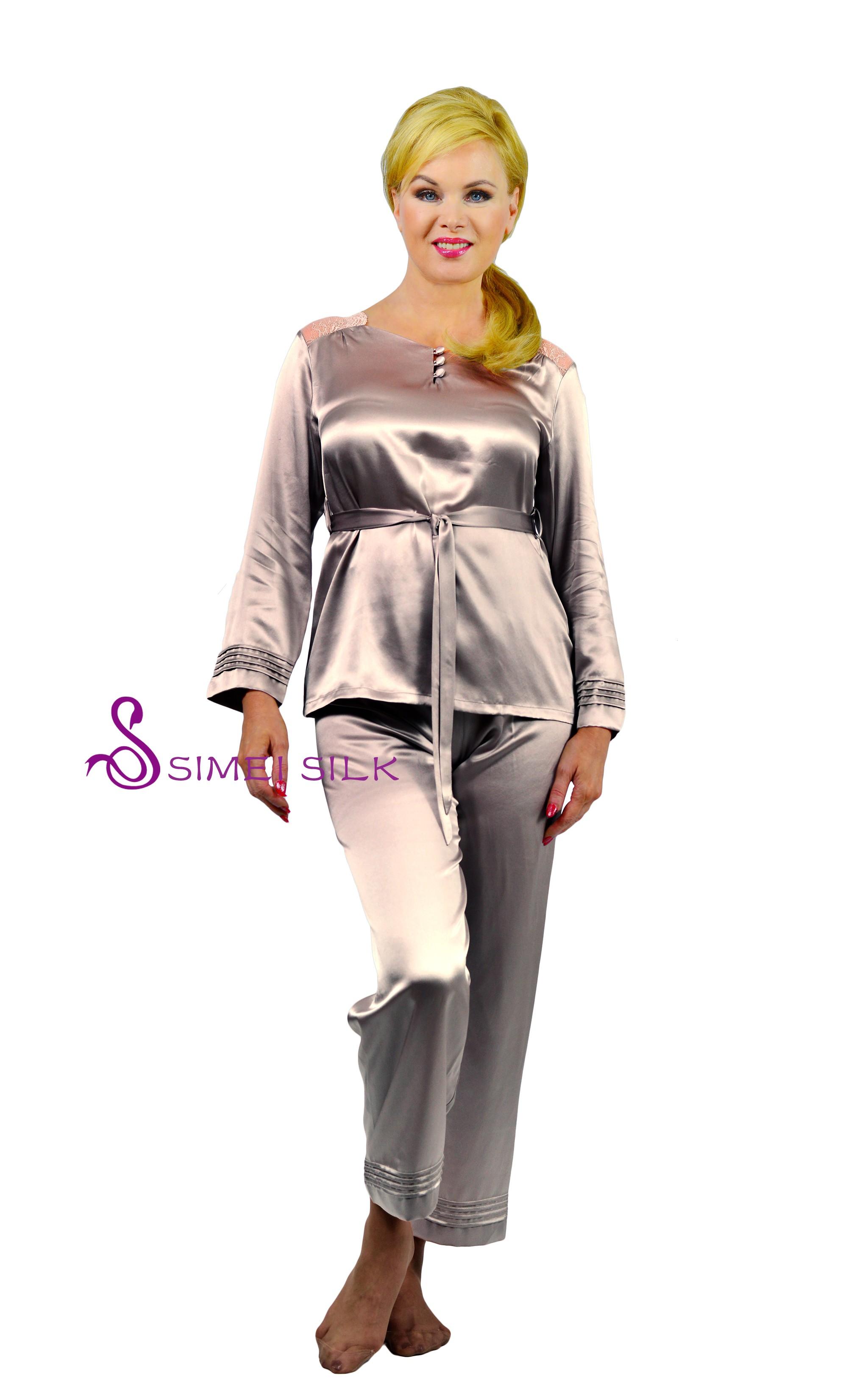 Naisten silkkipyjama (Väri: lämmin harmaa )