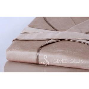 Miesten silkkiyö- ja oloasut - Silkkifleece aamutakki (Kameli)