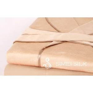 Miesten silkkiyö- ja oloasut - Silkkifleece -aamutakki (vaalea kameli)