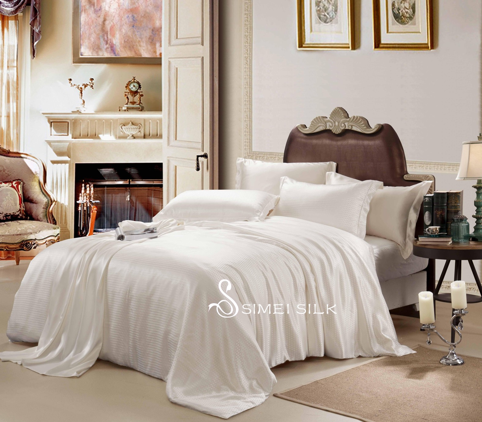 silk bedding sets ( 4pcs king size, white-square)
