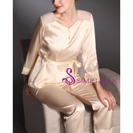 Ladies' silk pajamas , color rose.