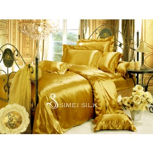 silk bedding sets ( 4pcs king size, golden)