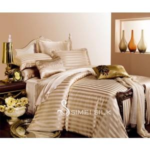 silk bedding sets ( 4pcs king size, latte-stripe)