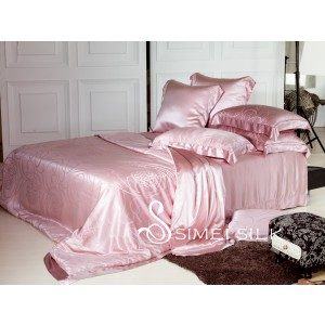 silk bedding sets, yarn-dyed jacquard  ( 5pcs, king size, lilac )