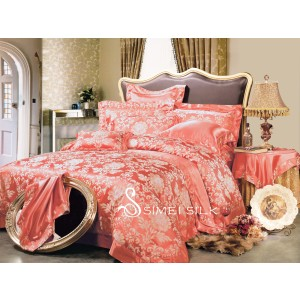 silk bedding sets, yarn-dyed jacquard  ( 6pcs, king size, 22 momme, coral )