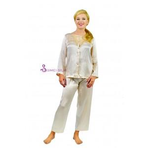 Ladies' silk pajamas, color : cream