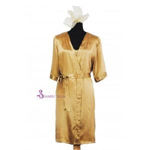 Naisten silkkiyöasu, kultainen (2-osainen)