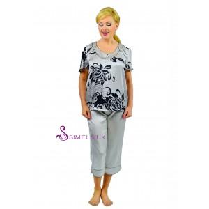 Ladies'  silk pajama, short sleeve- capri pants, chrysanthemum