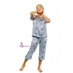 Ladies'  silk pajama, short sleeve- capri pants, black pattern on white