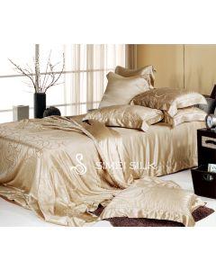 Silkkilakanasarja-Jacquard-silkkilankakirjoiltu (King Size, 5-osainen. Väri: kultainen beige)