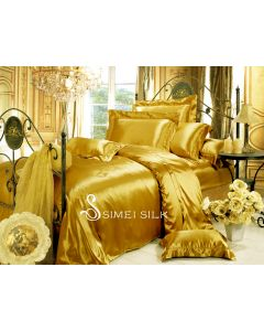 silk bedding sets ( 4pcs king size, golden)