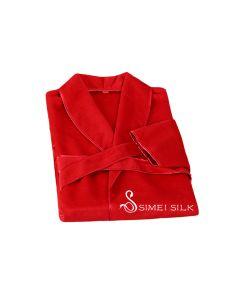 Naisten silkkiyö- ja oloasut - Silkkifleece aamutakki (punainen )