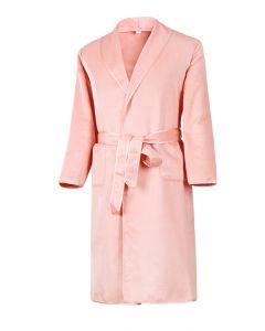 Naisten silkkiyö- ja oloasut - Silkkifleece aamutakki (väri roosa)