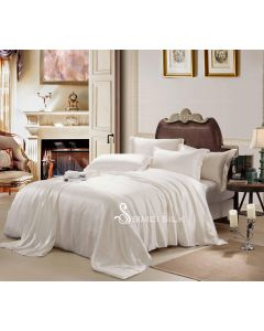 silk bedding sets ( 4pcs king size, white-square)
